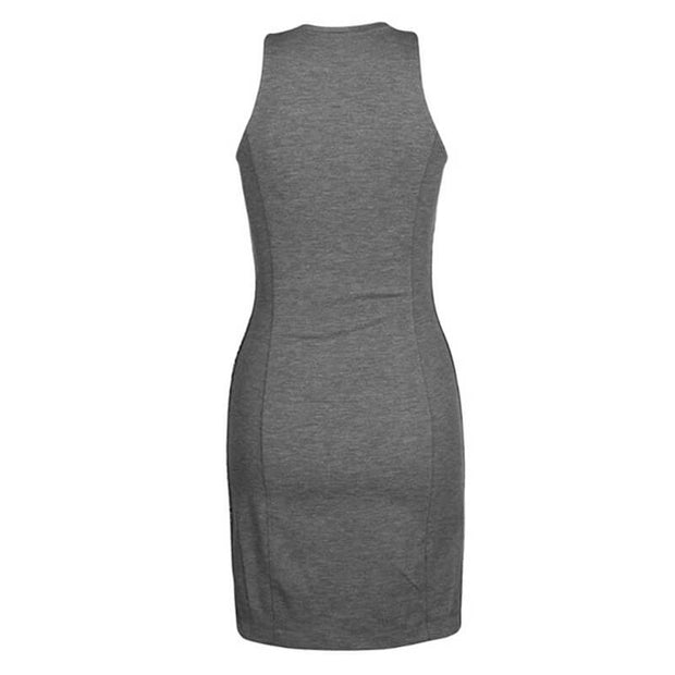 LOGO ELASTIC FITTED MILANO DRESS P2FGREY
