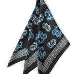 Budapest Kerchief in Black: silky black kerchief bandana with indigo blue paisleys and a charcoal gray border.