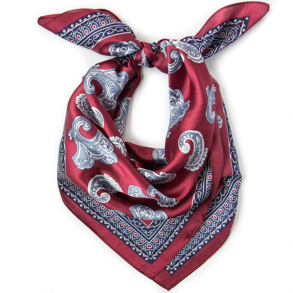 Budapest Kerchief in Burgundy: silky burgundy kerchief bandana with slate blue paisleys and a navy blue border.