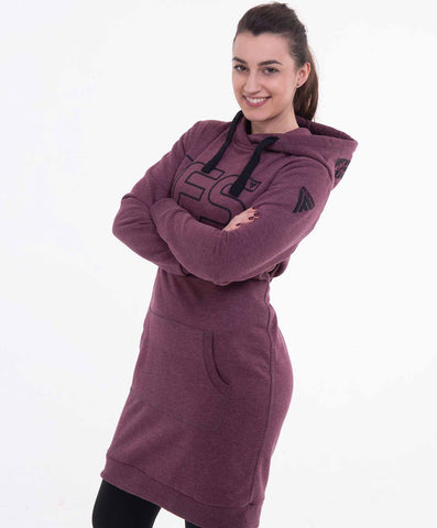 Ironfibre Squad hoodie dress dark red