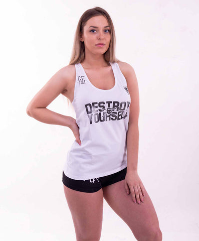 DESTROY YOURSELF TANK TOP WHITE