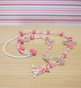 Beaded necklace with healing stones - pink