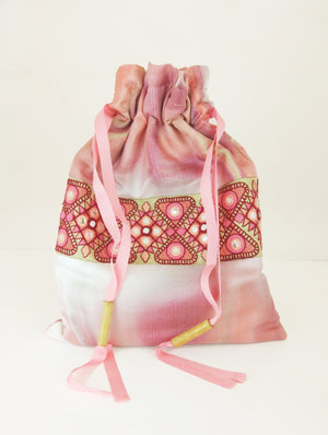 Pink brocade draw string bag