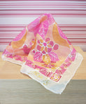 Hand Painted Small Silk Square - Pink Floral