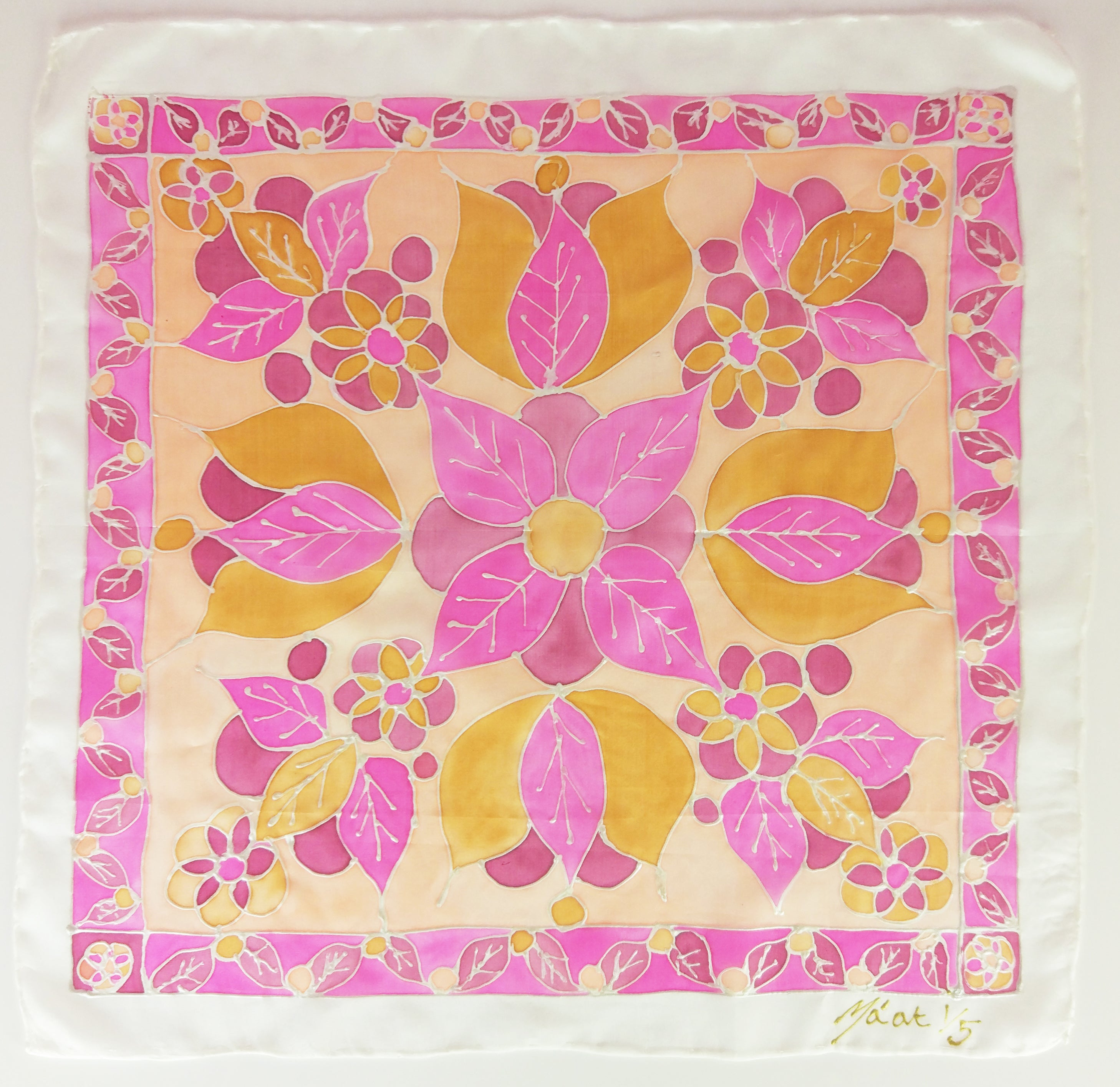 Hand painted silk square