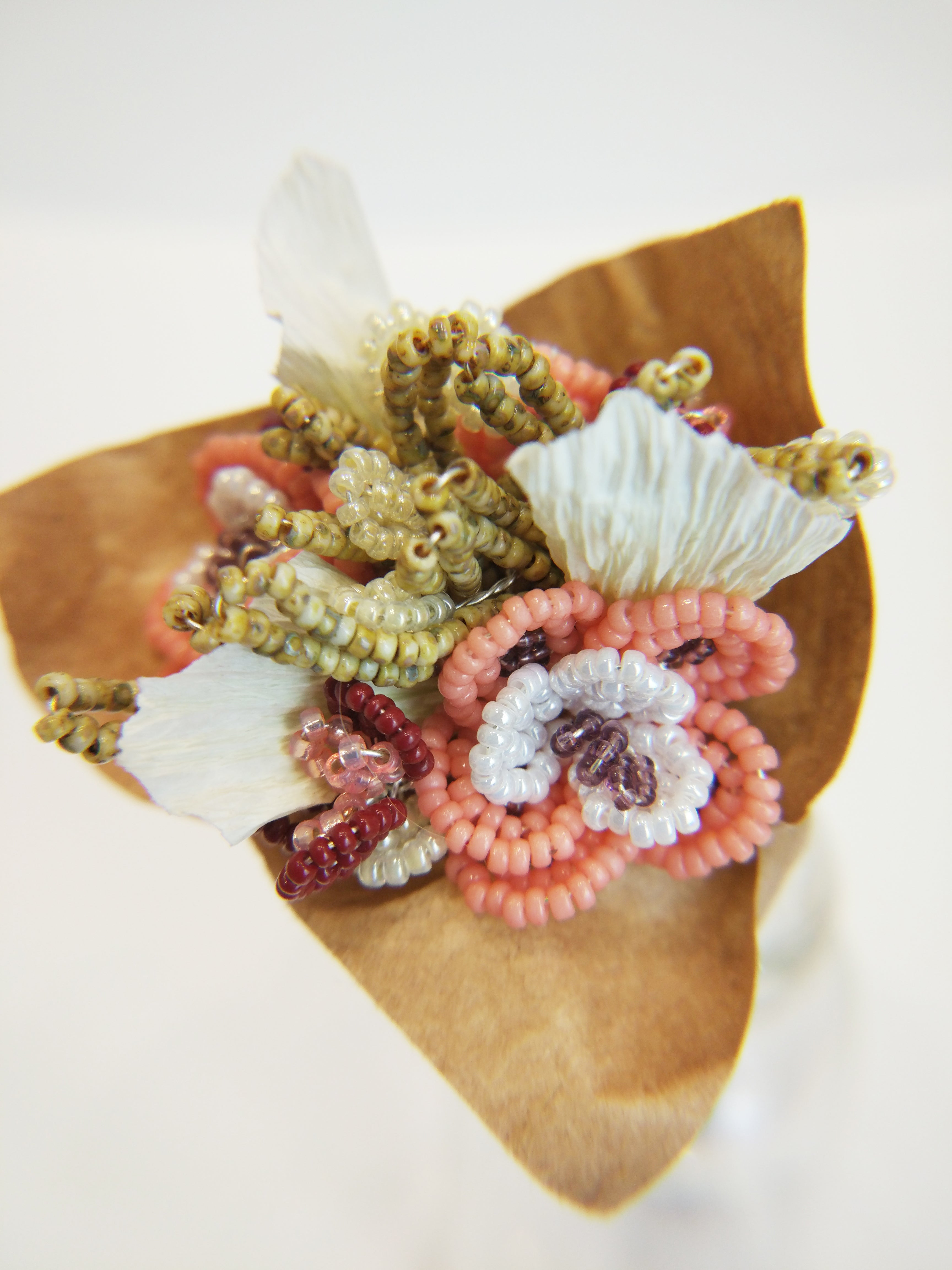 Miniature beaded flower bouquet - vintage afternoon