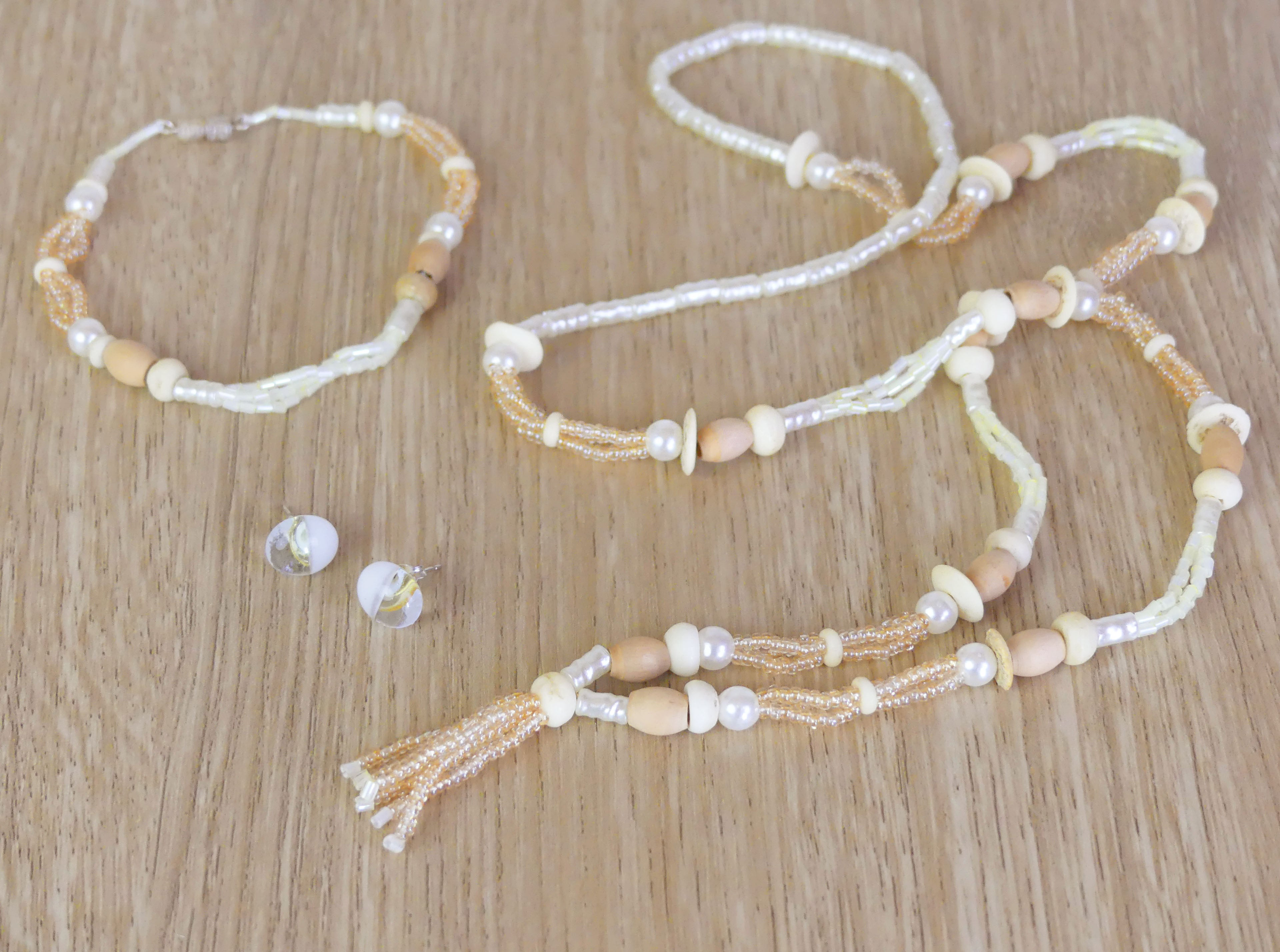 Beaded necklace, bracelet and glass earing set - natural