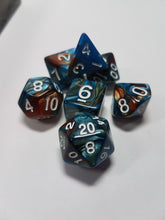 Load image into Gallery viewer, Blue and Copper Dice Set w/White 7pc Dice Set