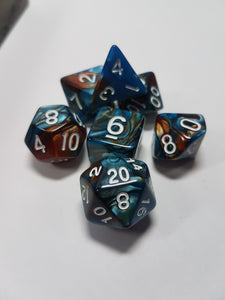 Blue and Copper Dice Set w/White 7pc Dice Set