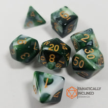 Load image into Gallery viewer, Dark Green Berries and Cream w/Gold 7pc Dice Set