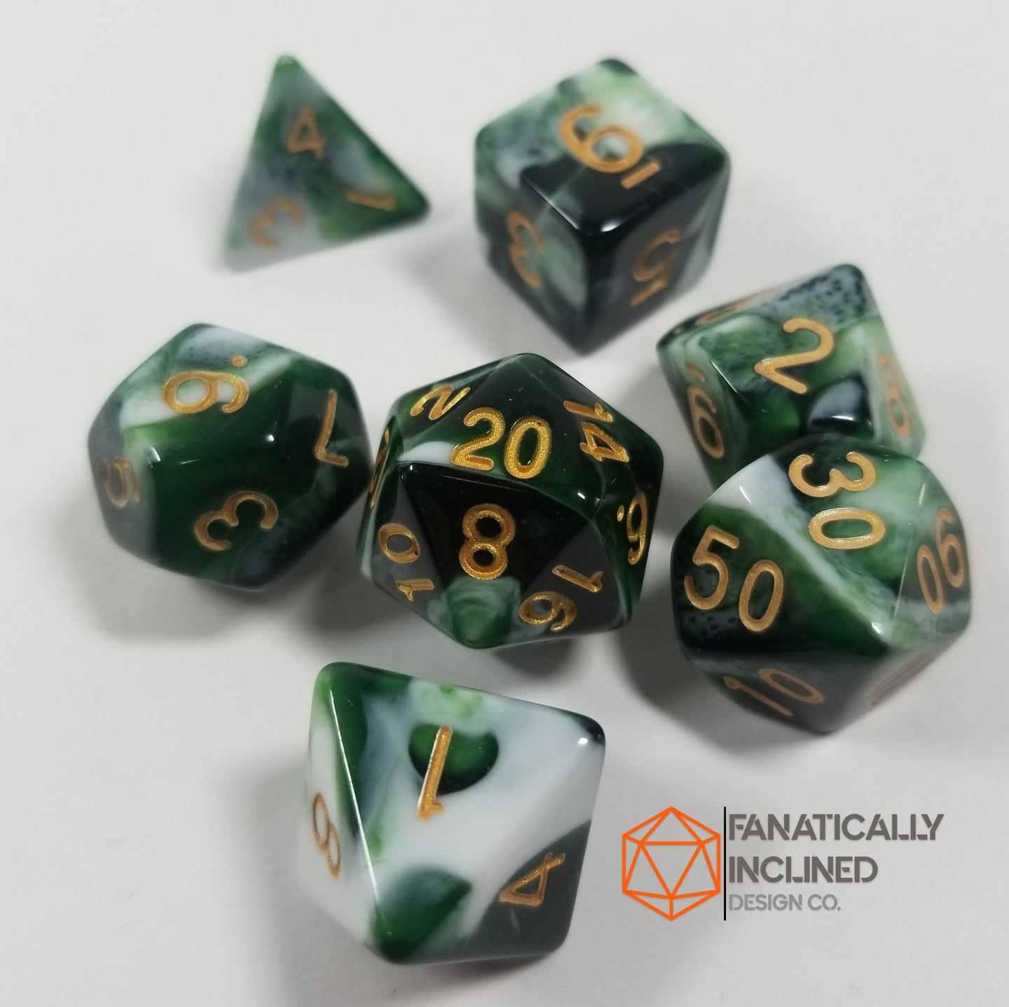Dark Green Berries and Cream w/Gold 7pc Dice Set