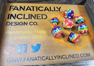 Solid Rainbow Pride Resin 7pc Dice Set