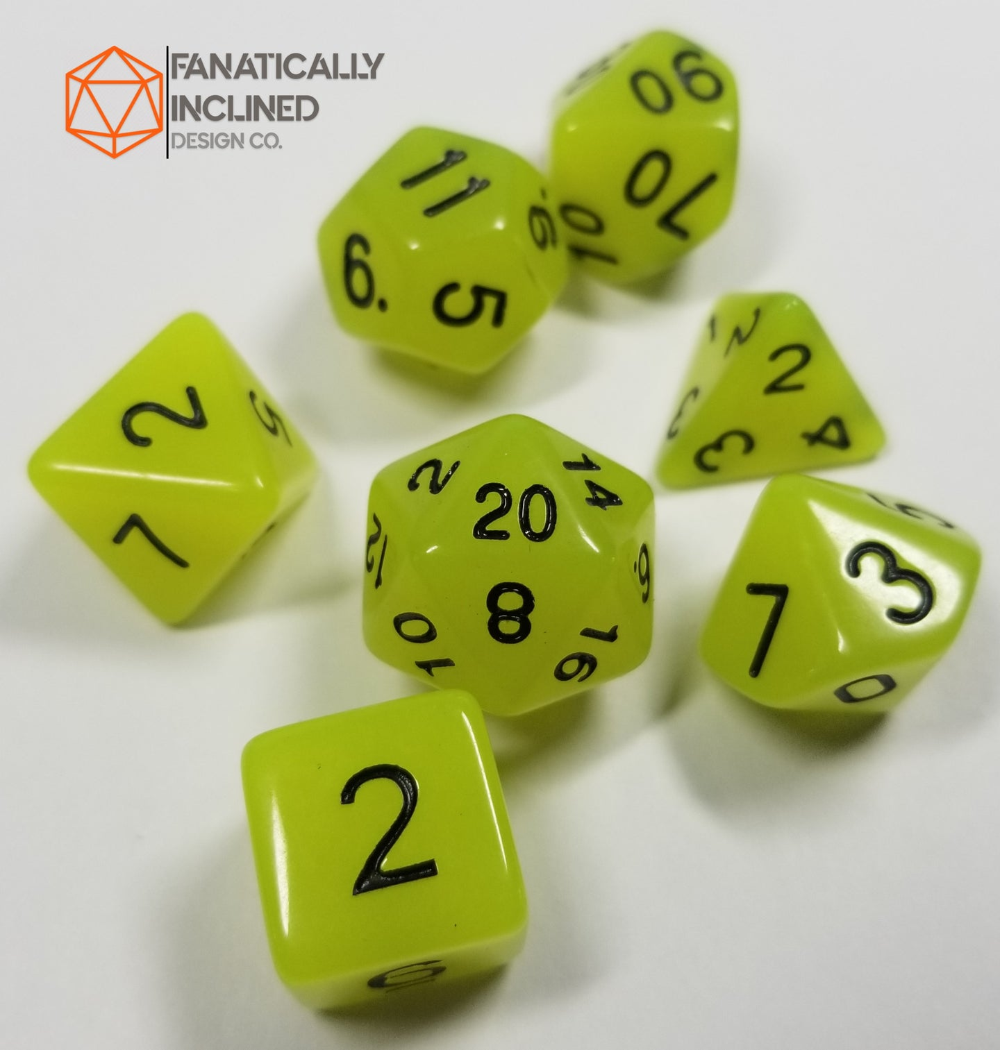 Yellow Radiant Glow In The Dark 7pc Dice Set