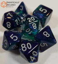 Load image into Gallery viewer, Blue and Green Glitter Galaxy 7pc Dice Set