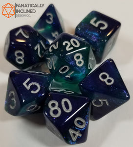 Blue and Green Glitter Galaxy 7pc Dice Set