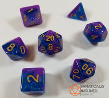 Laden Sie das Bild in den Galerie-Viewer, Blue and Purple Glitter Galaxy 7pc Dice Set
