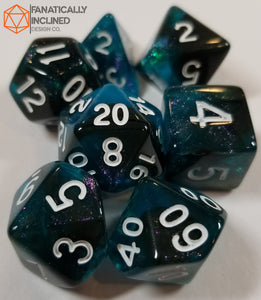 Blue and Black Glitter Galaxy 7pc Dice Set