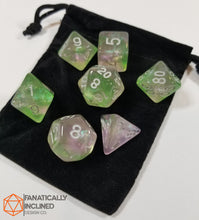 Load image into Gallery viewer, Green and Pink Glitter Galaxy 7pc Dice Set