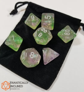 Green and Pink Glitter Galaxy 7pc Dice Set