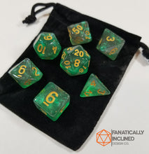 Load image into Gallery viewer, Green and Grey Glitter Galaxy 7pc Dice Set