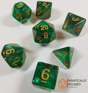 Green and Grey Glitter Galaxy 7pc Dice Set