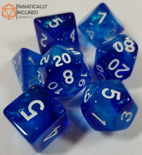 Load image into Gallery viewer, Blue and Light Blue Glitter Galaxy 7pc Dice Set