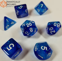 Cargar imagen en el visor de la galería, Blue and Light Blue Glitter Galaxy 7pc Dice Set