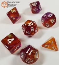 Load image into Gallery viewer, Purple and Orange Glitter Galaxy 7pc Dice Set