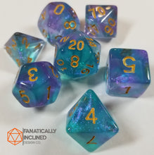 Load image into Gallery viewer, Purple and Cyan Teal Glitter Galaxy 7pc Dice Set