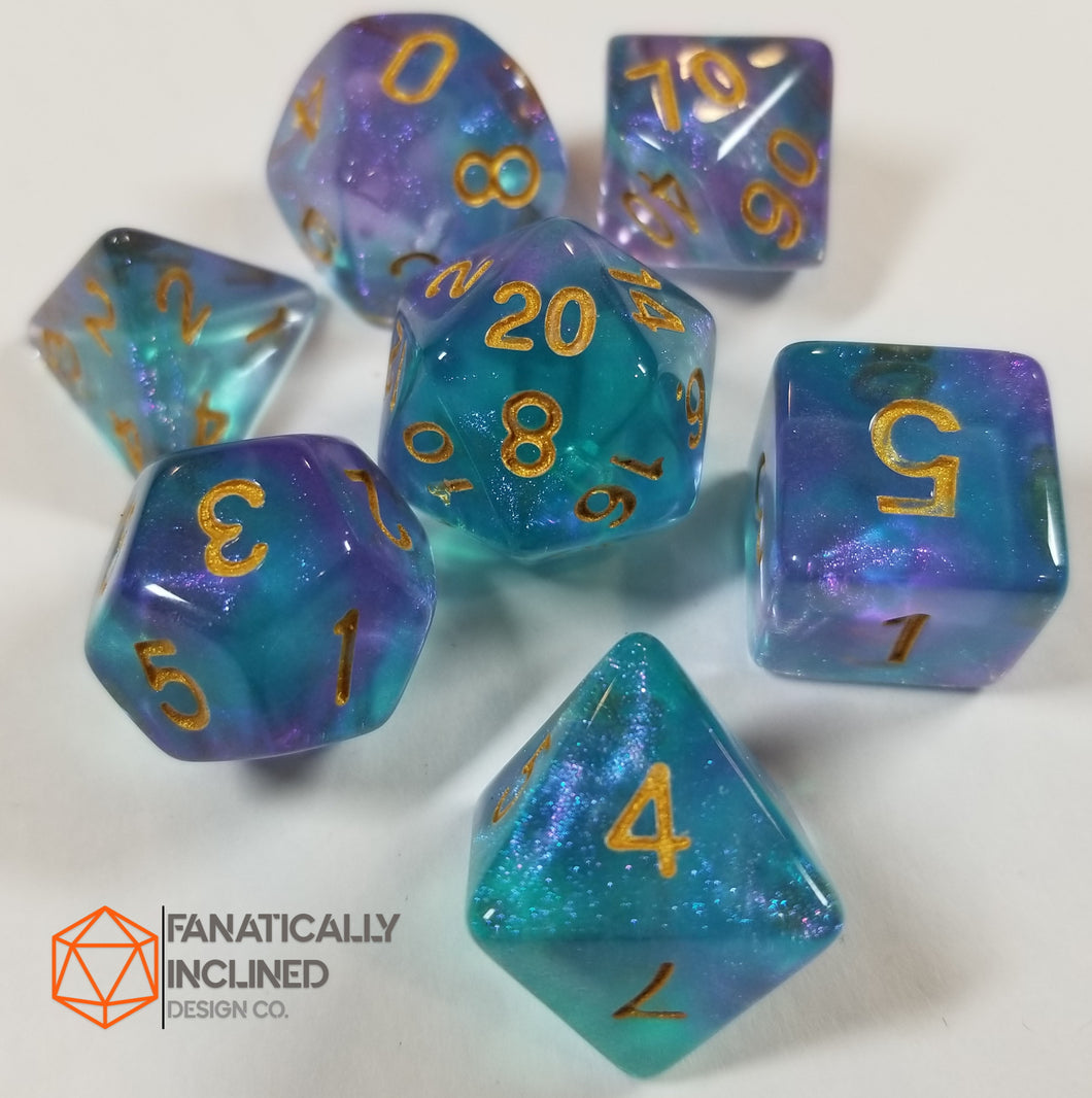 Purple and Cyan Teal Glitter Galaxy 7pc Dice Set