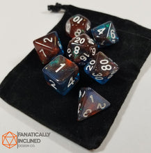Laden Sie das Bild in den Galerie-Viewer, Red and Blue Glitter Galaxy 7pc Dice Set