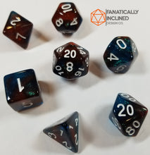 Load image into Gallery viewer, Red and Blue Glitter Galaxy 7pc Dice Set