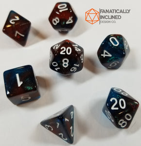 Red and Blue Glitter Galaxy 7pc Dice Set