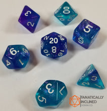 Load image into Gallery viewer, Purple and Blue Glitter Galaxy 7pc Dice Set
