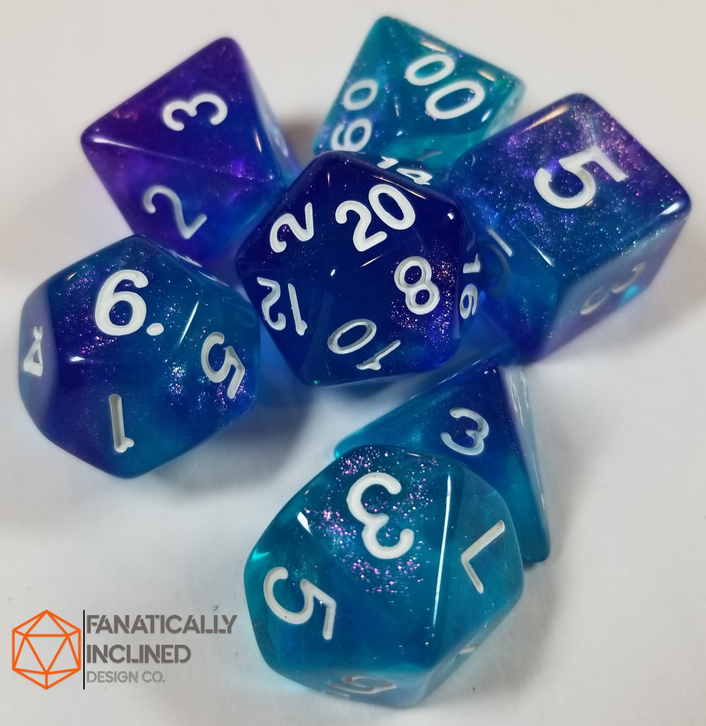 Purple and Blue Glitter Galaxy 7pc Dice Set