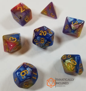 Rainbow Pearl 7pc Dice Set
