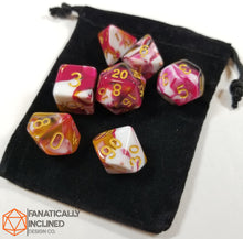 Load image into Gallery viewer, Red Brown White Ice Cream Sundae 7pc Dice Set
