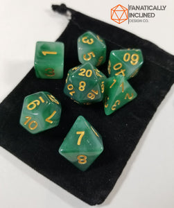 Faux Green Jade Resin 7pc Dice Set