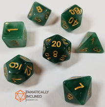 Load image into Gallery viewer, Faux Green Jade Resin 7pc Dice Set
