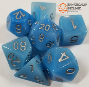 Faux Blue Jade Resin 7pc Dice Set