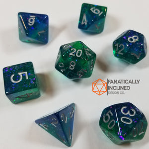 Blue and Green Resin Glitter 7pc Dice Set