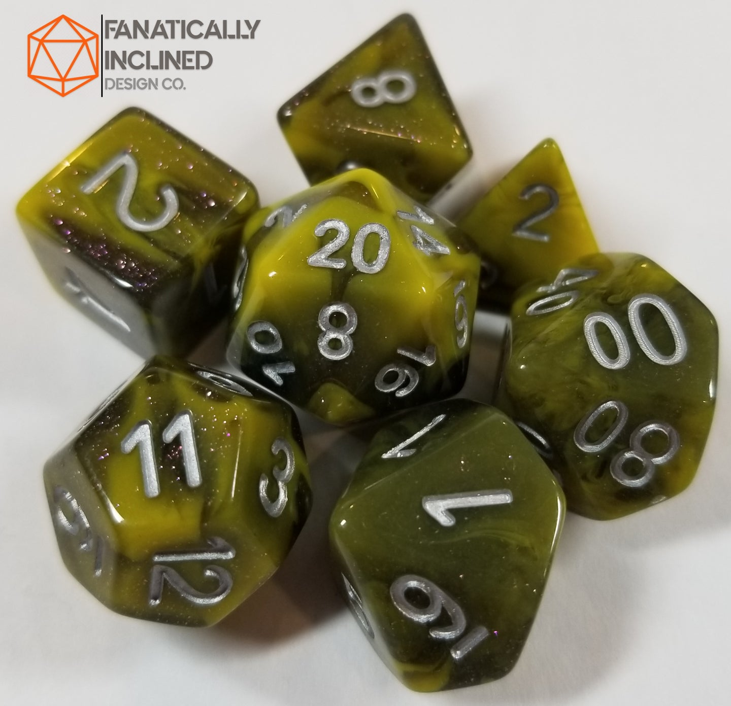 Yellow and Black Resin Glitter 7pc Dice Set