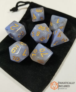 Blue and Grey Resin Glitter 7pc Dice Set
