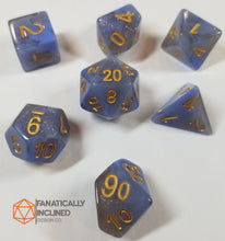 Load image into Gallery viewer, Blue and Grey Resin Glitter 7pc Dice Set
