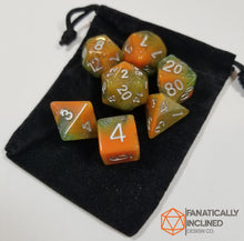 Load image into Gallery viewer, Orange and Green Resin Glitter 7pc Dice Set
