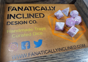 Purple and Grey Resin Glitter 7pc Dice Set