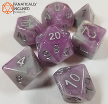 Load image into Gallery viewer, Purple and Grey Resin Glitter 7pc Dice Set