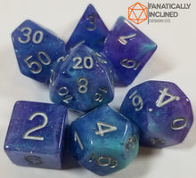 Load image into Gallery viewer, Purple and Blue Cyan Resin Glitter 7pc Dice Set