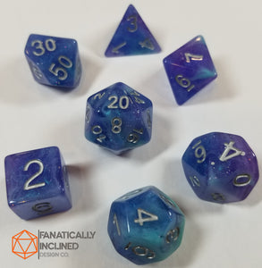 Purple and Blue Cyan Resin Glitter 7pc Dice Set