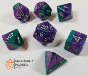 Purple Green Violet Resin Glitter 7pc Dice Set